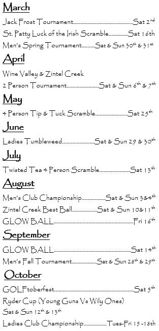 2019 Zintel Creek Golf Club Event Dates