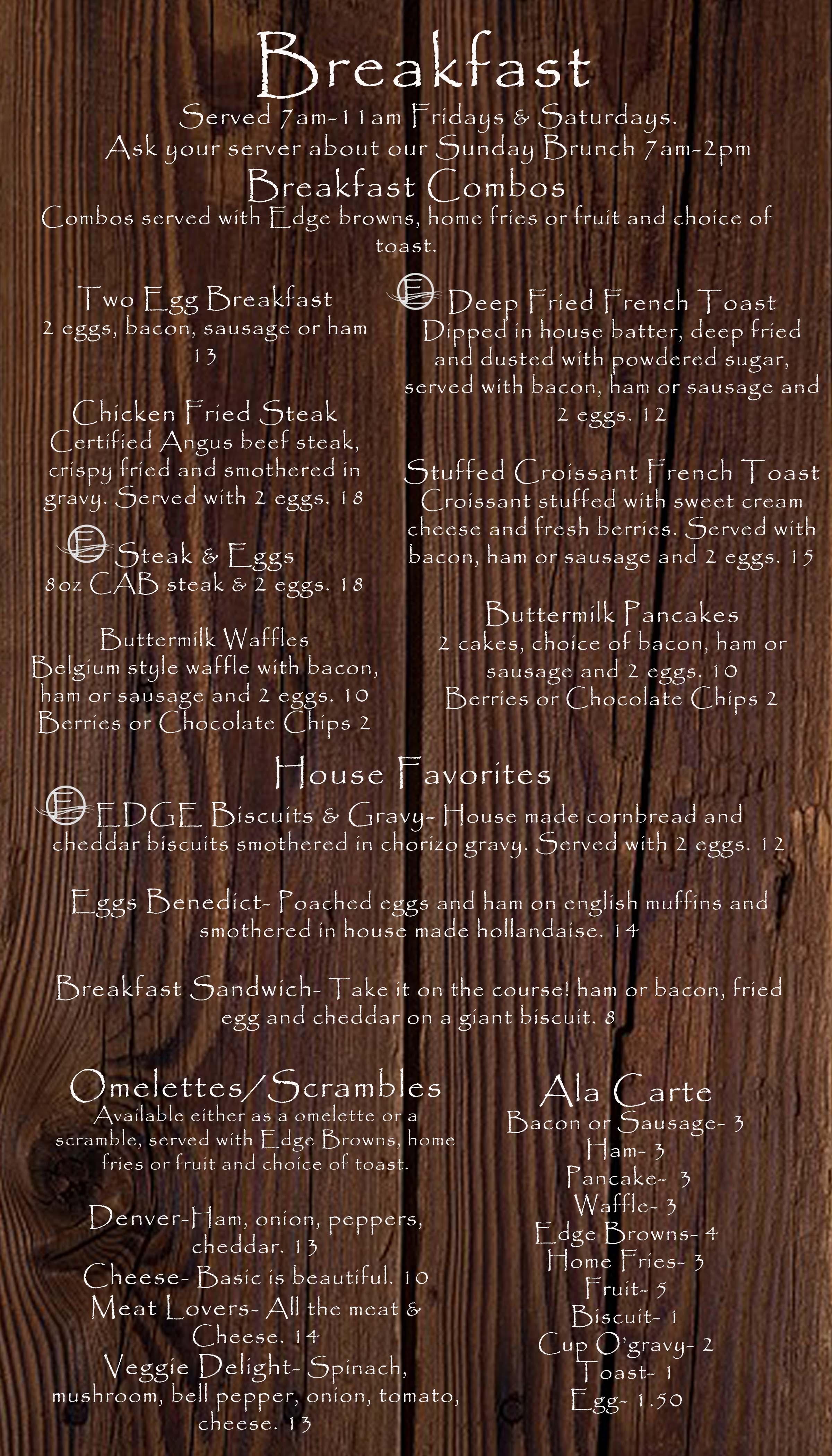 Restaurant | The EDGE Steakhouse & Sports Lounge • Zintel Creek Golf